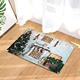 NYMB New Year Festival Decor, Christmas Tree Fireplace and Presents for Family Bath Rugs, Non-Slip Doormat Floor Entryways Indoor Front Door Mat, Kids Bath Mat, 15.7x23.6in, Bathroom Accessories