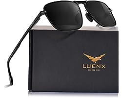 LUENX Rectangular Aviator Sunglasses for Men Women Polarized Square Metal Frame - UV 400 Protection 60MM