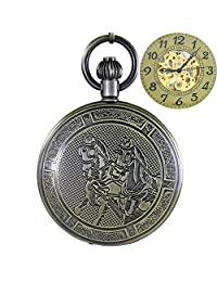 OGLE Waterproof Retro Bronze Horse Chain Fob Self Winding Automatic Skeleton Mechanical Pocket Watch