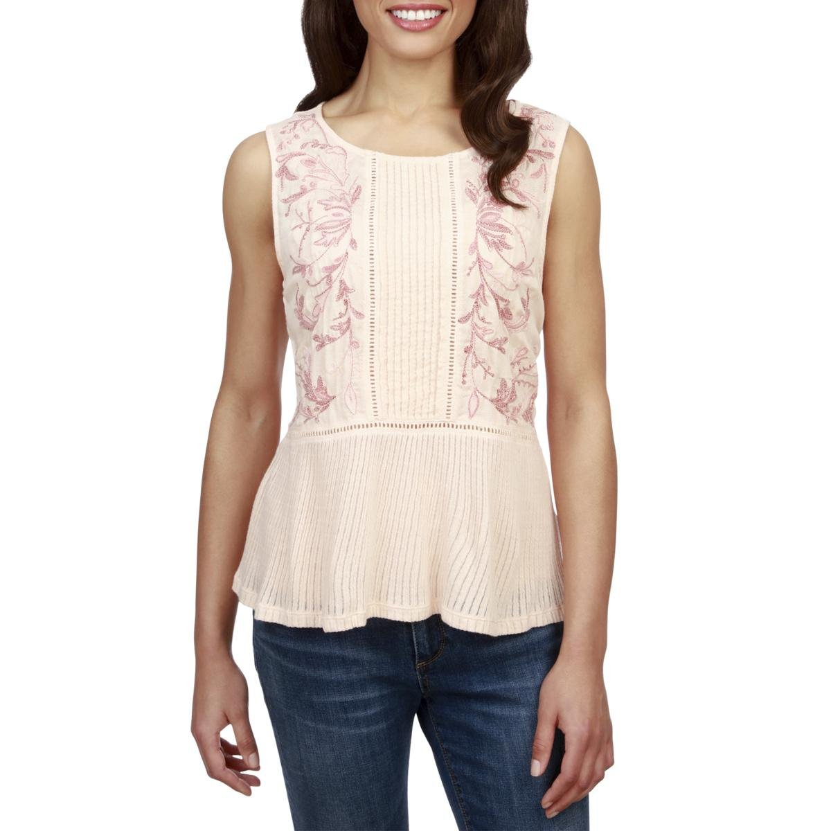 Lucky Brand Women's Embroidered Ladder-Trim Sleeveless Top, Pale Peach (XL)
