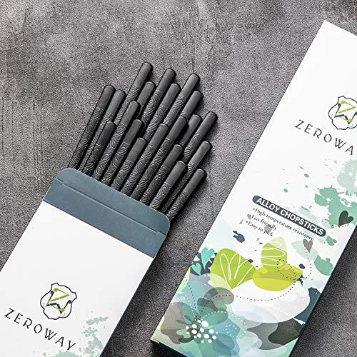 Zeroway 10 Pairs Alloy Chopsticks Reusable Chopsticks with Gift Case Dishwasher Safe Sushi Chopstick Set for Household Restaurant - Herb Leaf