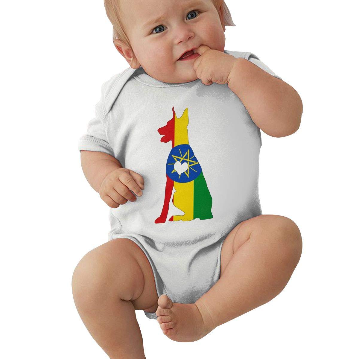 Mri-le2 Baby Boy Short Sleeve Organic Bodysuit Ethiopia Flag Adore Dobermans Dog Toddler Jumpsuit