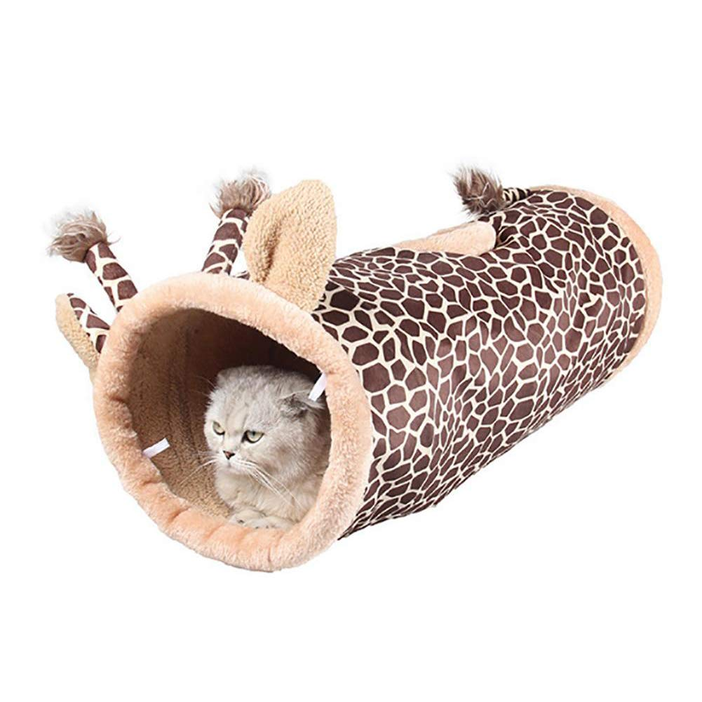 Pet Cat Tunnel 2 Hole Short Plush Collapsible Tunnel Cat Rabbit Toy,B