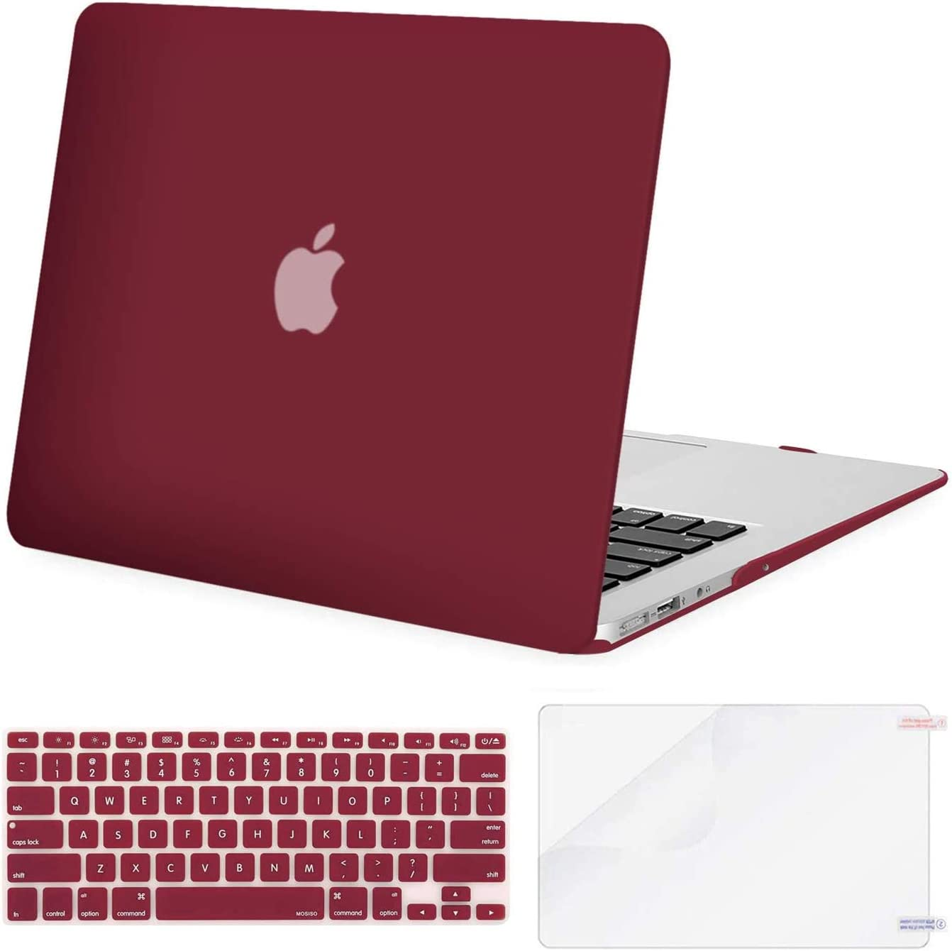 MOSISO Plastic Hard Shell Case & Keyboard Cover Skin & Screen Protector Only Compatible with MacBook Air 11 inch (Models: A1370 & A1465), Wine Red
