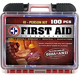 Be Smart Get Prepared 100Piece First Aid Kit, Exceeds OSHA Ansi Standards for 10 People – Office, Home, Car, School, Emergency, Survival, Camping, Hunting, Sports