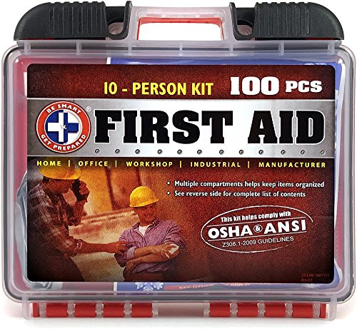 Emergency First Aid Kit - Be Smart Get Prepared 100 Piece First Aid Kit, Exceeds OSHA ANSI Standards for 10 People - Office, Home, Car, School, Emergency, Survival, Camping, Hunting, and Sports