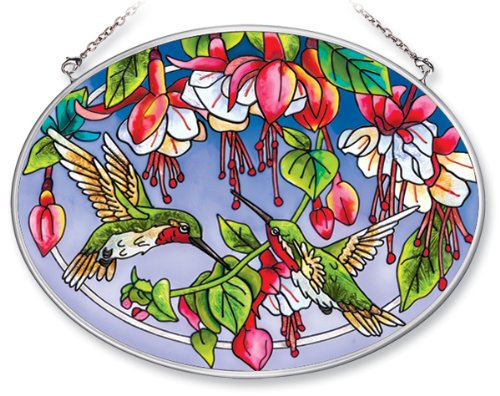 Amia 5669 Medium Oval Suncatcher with Hummingbird and Fuchsia Design, Hand-painted Glass, 7-Inch W by 5-1/2-Inch L