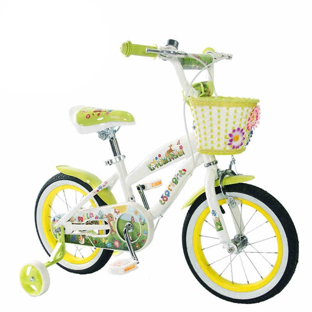 HAIZHEN マウンテンバイク トレーニングホイールとバスケット付きのStargirl Girl's Bike、子供用パーフェクトギフト。 12インチ、14インチ、16インチ、18インチ、グリーンまたはピンク 新生児 B07C3TTBV5 14 inch|緑 緑 14 inch