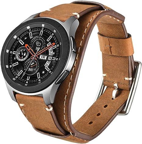 Leotop Correa Compatible con Samsung Galaxy Watch 46mm/Gear S3 Frontier/Classic, 22mm Vintage Pulsera de Cuero Genuino Reemplazo Banda de Bucle Acero Inoxidable para Mujeres Hombres (22 mm, Marrón): Amazon.es: Electrónica