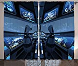 Outer Space Decor Curtains Space Shuttle Cockpit Cabin with Mode Control Panel Flight Deck Area Living Room Bedroom Window Drapes 2 Panel Set Blue Gray 120x66 offers