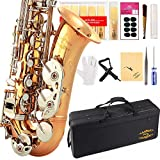 Glory Gold/Nickel B Flat Tenor Saxophone with Case,10pc Reeds,Mouth Piece,Screw Driver,Nipper. A pair of gloves, Soft Cleaning Cloth.