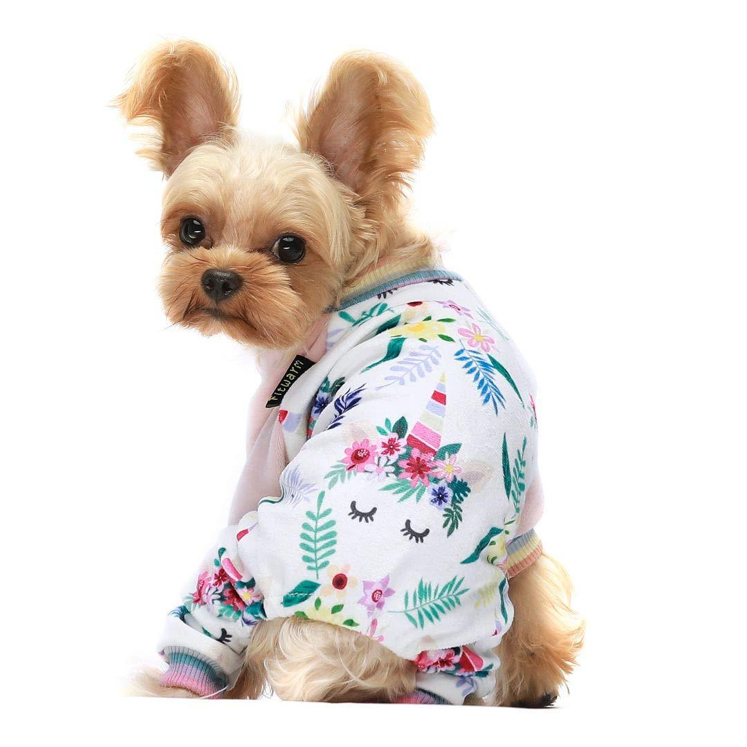 Fitwarm Unicorn Pet Clothes for Dog Pajamas Cat Onesies Lightweight Velvet Pink Medium by Fitwarm