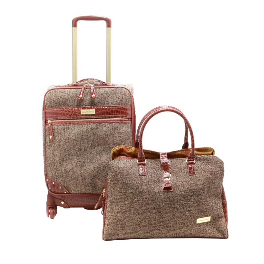 Samantha Brown Tweed 2-Piece 21'' Spinner and Shoulder Bag Luggage Set - Tan