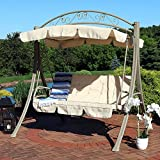 Sunnydaze Deluxe Patio Swing with Heavy Duty Steel Frame, Beige Cushions and Canopy, Seats 3 People, for Patio, Porch or Yard, 600 Pound Capacity