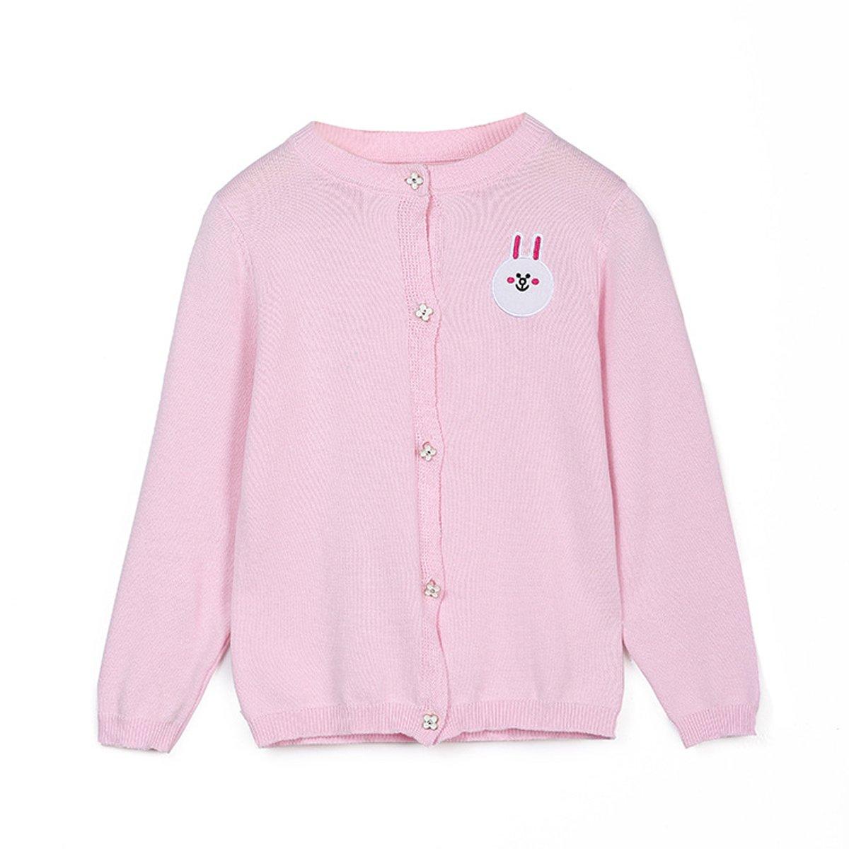 Kanodan Girls Kids Cotton Cardigan Top Rabbit Embroidery Pattern Sweater Coat