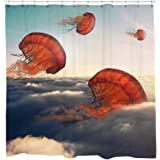 Jellyfish Shower Curtain Set with flying Jelly Fish Ocean Theme bathroom decor 12 Hooks Included
