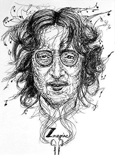 Miss You, John Lennon, A4 Decor Print, Black and White Art, Beatles Art Wall Decor