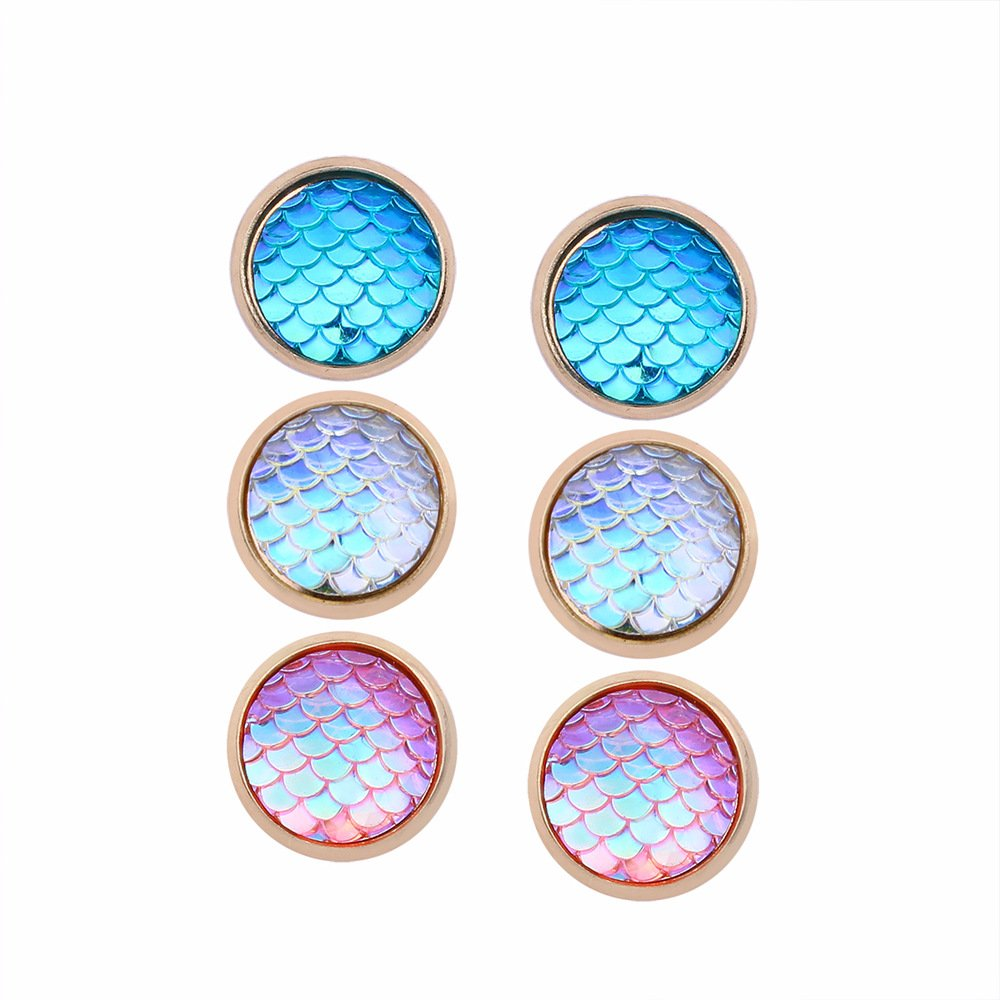 3 Pairs AB Blue Pink Mermaid Scales Stainless Steel Gold Plated Summer Vacation Stud Earrings Set for Girls Teens and Women,Hypoallergenic