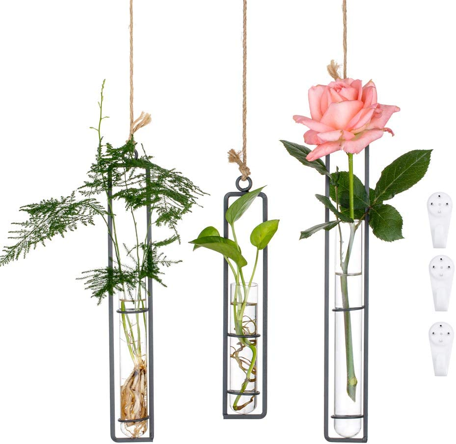 3Pcs/Set Glass Hanging Planter Terrarium Black Iron Art Hydroponic Test Tube Vase with Twine Rope and Hook Pots, Small + Medium + Large, Flower Water Container Decoration for Home Office Wedding