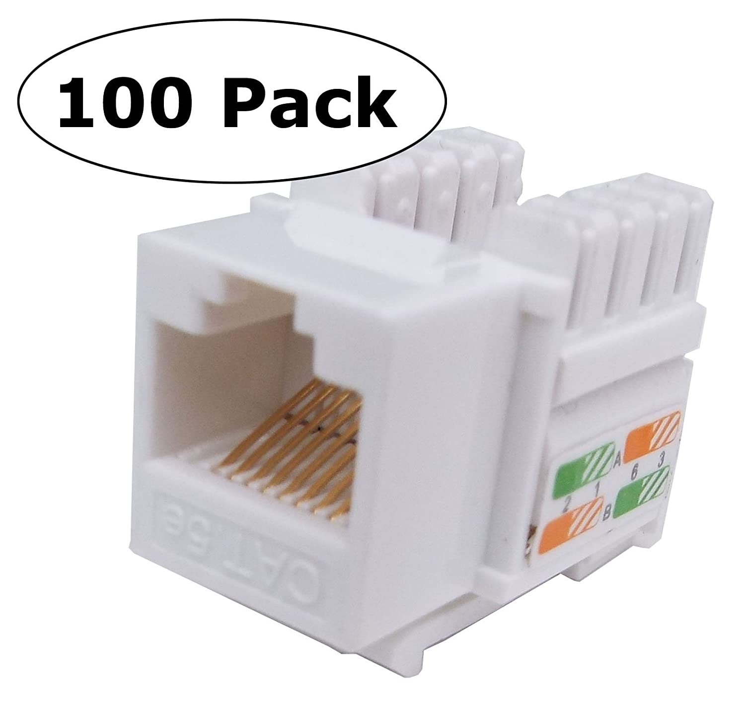Cnaweb Cat5e Rj45 Modular Keystone Jack 110 Style Wiring Diagram White Box Of 100 Home Improvement
