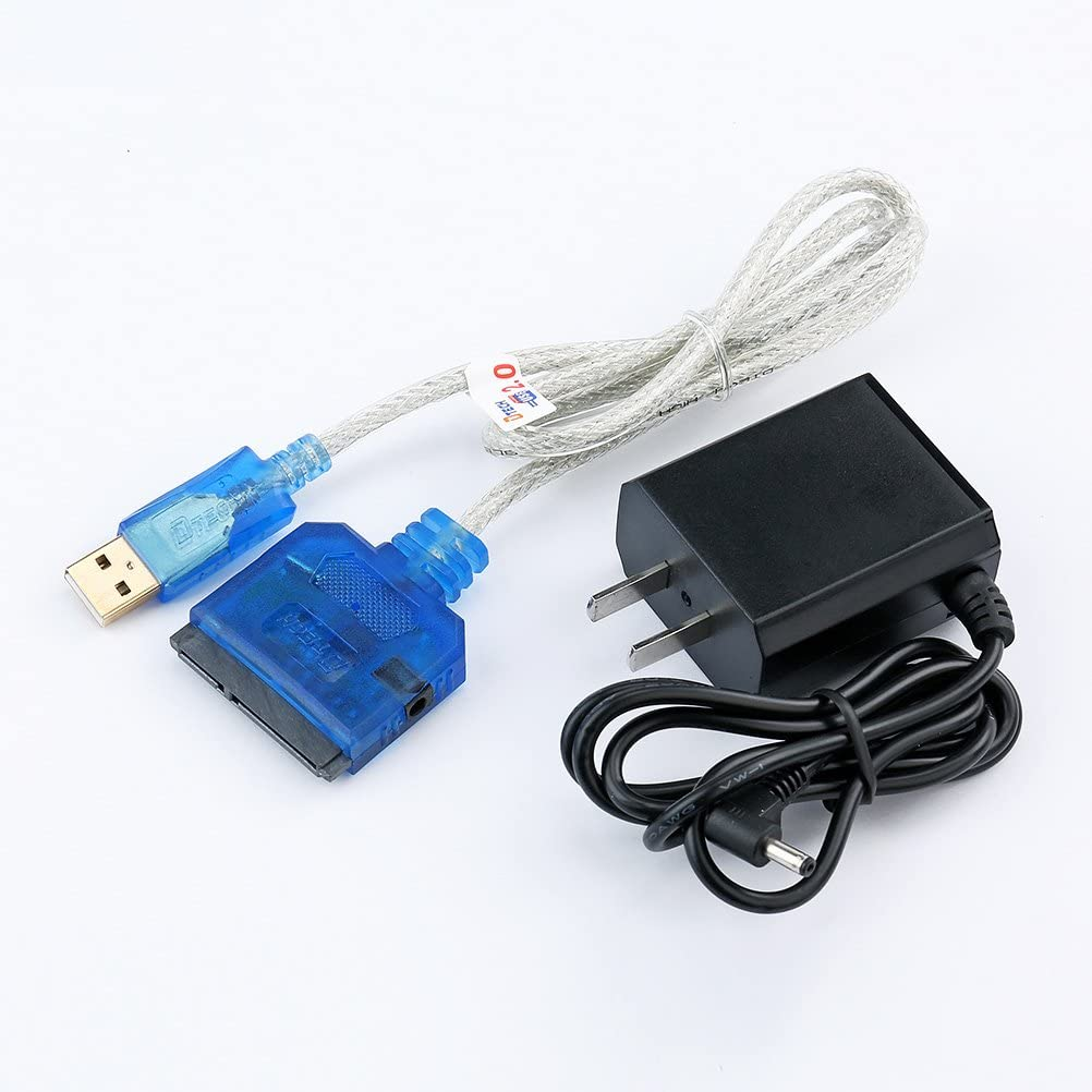 DTech USB 2.0 to 2.5 3.5 SATA Hard Drive SSD Cable with Power Adapter Supports SATA III HDD SSD Connect HDTV