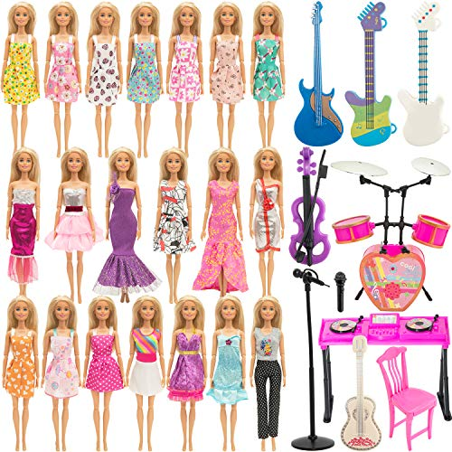SOTOGO 30 Pieces Doll Clothes and Accessories for Barbie Dolls Musical Entertainment Playset Include 12 Set Wearing Costume Clothes Changes Dresses, 10 Pieces Musical Instruments Toys Accessories