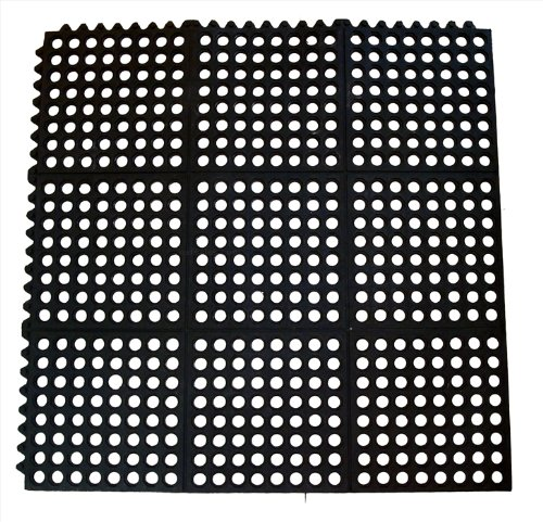 New Star 1 pc Heavy Duty Black 36x36 inch  Interlocking Restaurant / Bar Anti-Fatigue Rubber Floor Mat