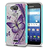 FINCIBO Case Compatible with Kyocera Hydro Wave C6740 Air C6745, Dual Layer Football Skin Hybrid Protector Case Cover Anti-Shock TPU for Kyocera Hydro Wave - Purple Butterfly (Style 2)