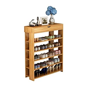 soges 5-Tier Shoe Rack 29.5 inches Wooden Shoe Storage Shelf Shoe Organizer, Teak L24-XTK