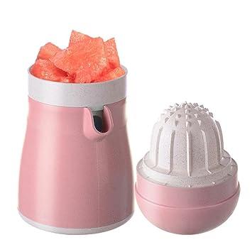 Exprimidor de fruta Hunpta manual para bebidas, limón naranja, exprimidor de cítricos, zumo de frutas con doble modo rosa: Amazon.es: Hogar
