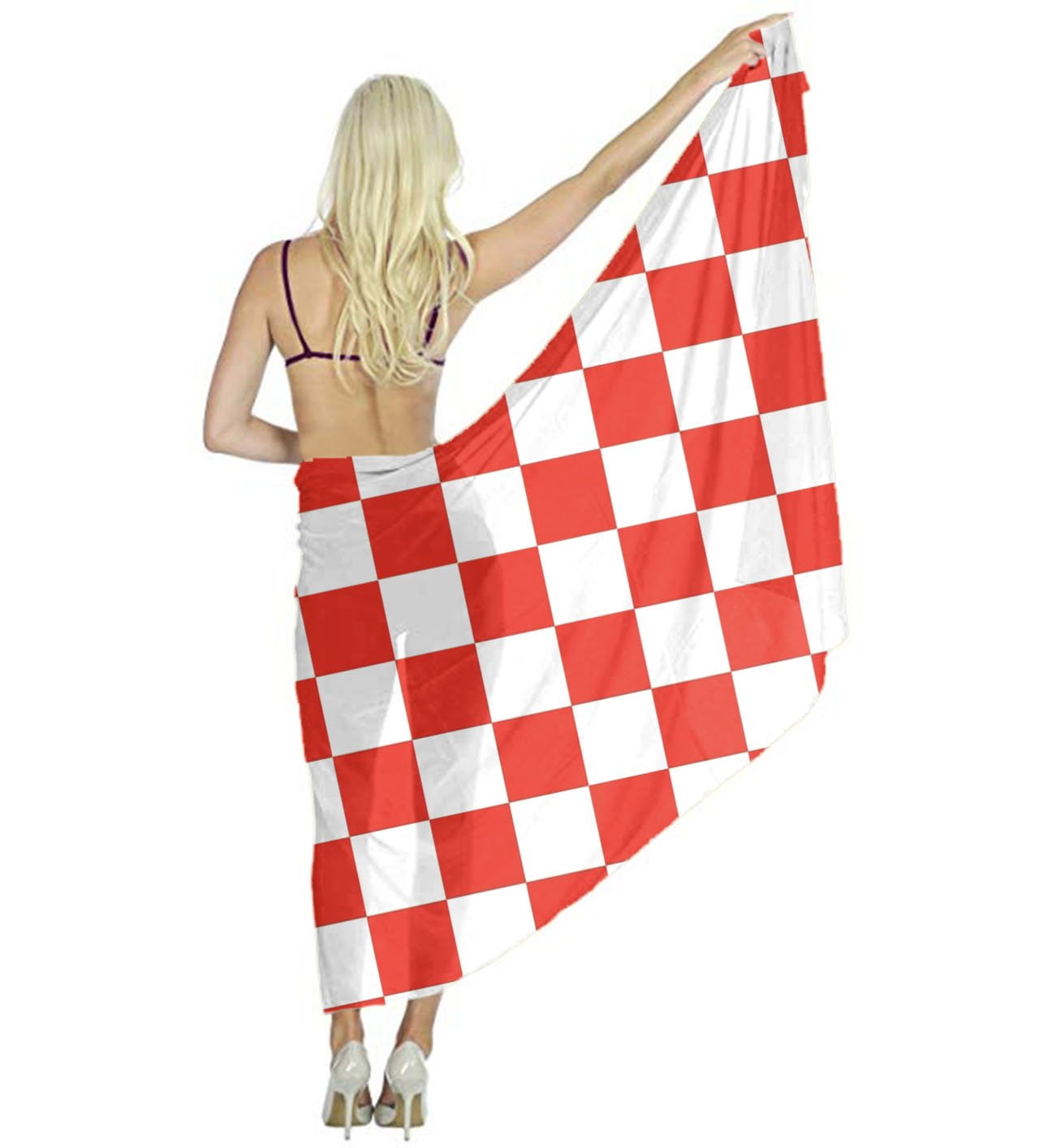 Women Scarf Large Red And White Checkered Shawl Wraps for Evening Dress, Wedding Party