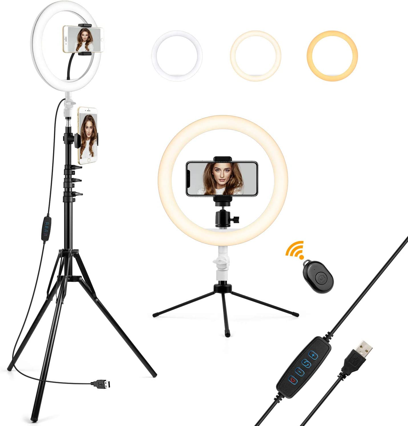 """Led Ring Light with Stand 10"""" Circle Lamp OldShark Dimmable Camera Ringlight with Phone Tripod for iPhone Photography YouTube Video Makeup Live Streaming"""
