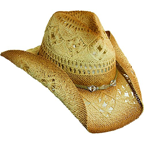 NEW TROPICAL TRENDS TOYO STRAW PINCH FRONT TEA BEADS BRAIDED BREEZER COWBOY HAT