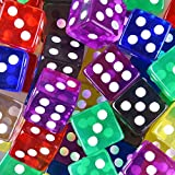 AUSTOR 50 Pieces Game Dice Set 5 Translucent Colors Square Corner Dice with a Free Pouch