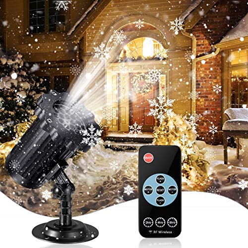 Snow Projector lights, Enow Xmas Snowflake Night Projection Lamp Waterproof Outdoor LED Snow Spotlight for Halloween Holiday Party Home Decoration Garden Light Projector with Remote Control