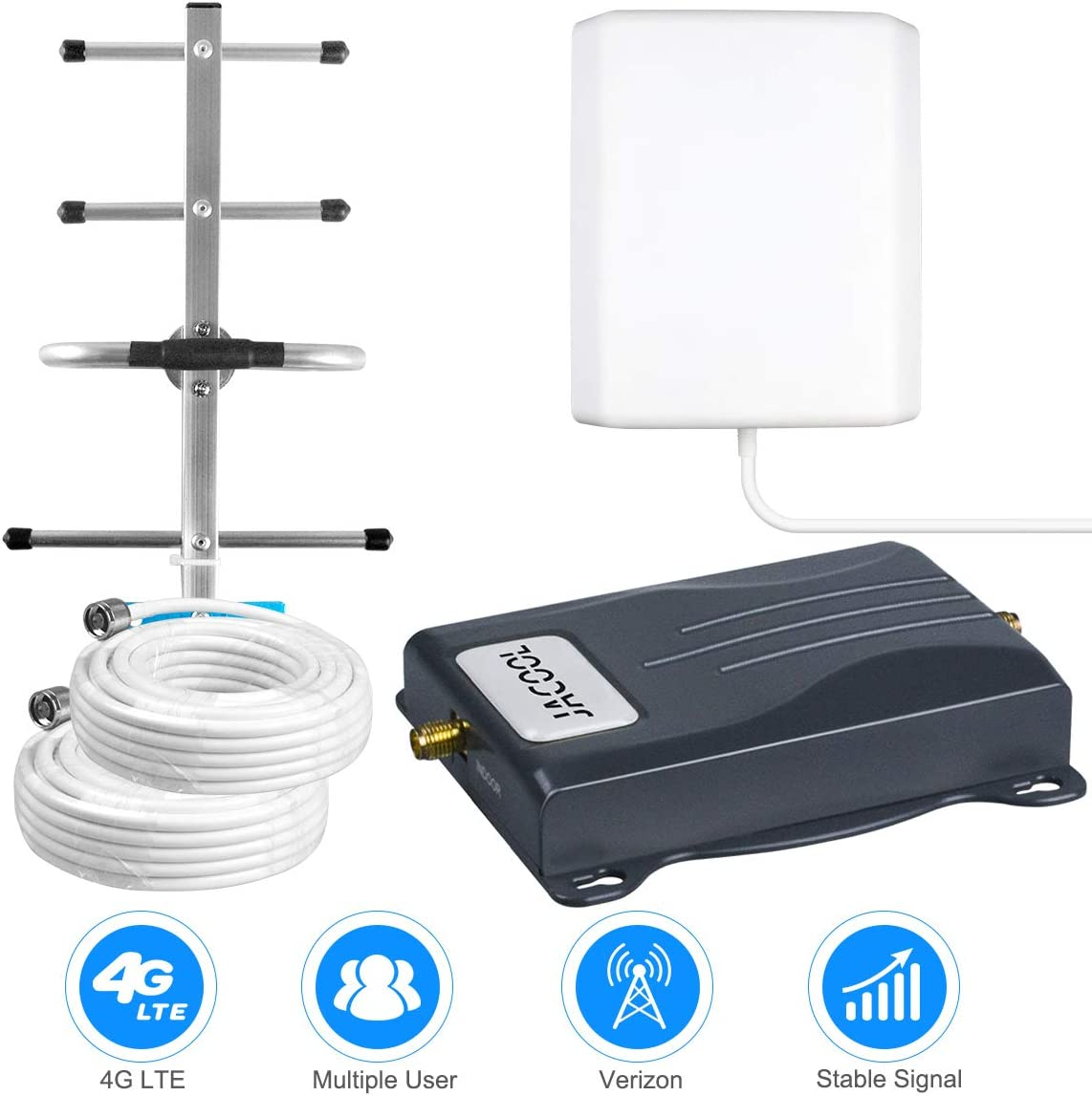 Cell Phone Signal Booster 4G LTE Verizon Signal Booster 700MHz Band 13 Verizon Mobile Phone Signal Booster Amplifier Extender for Remote Area - Boost 4G Data & Voice for Home Use