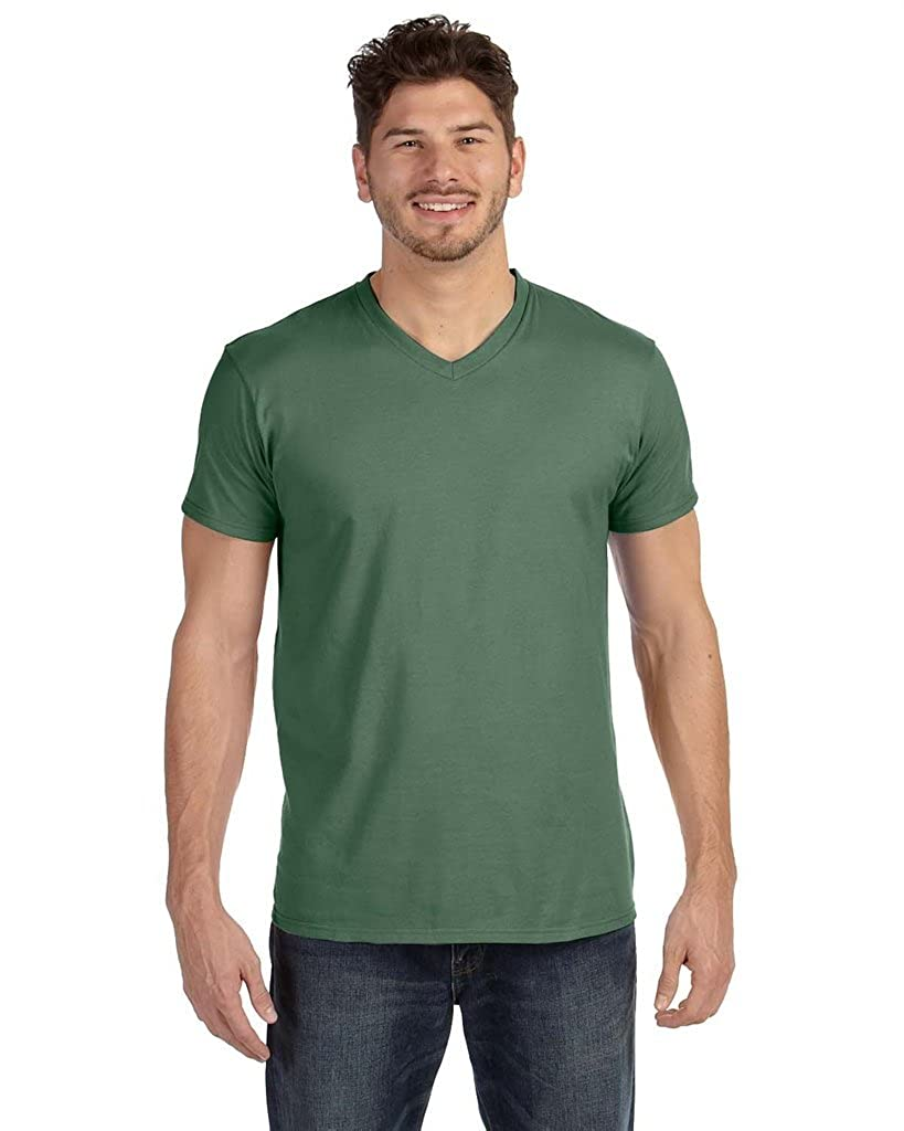 498V Hanes Mens Ringspun Cotton Nano-T V-Neck T-Shirt