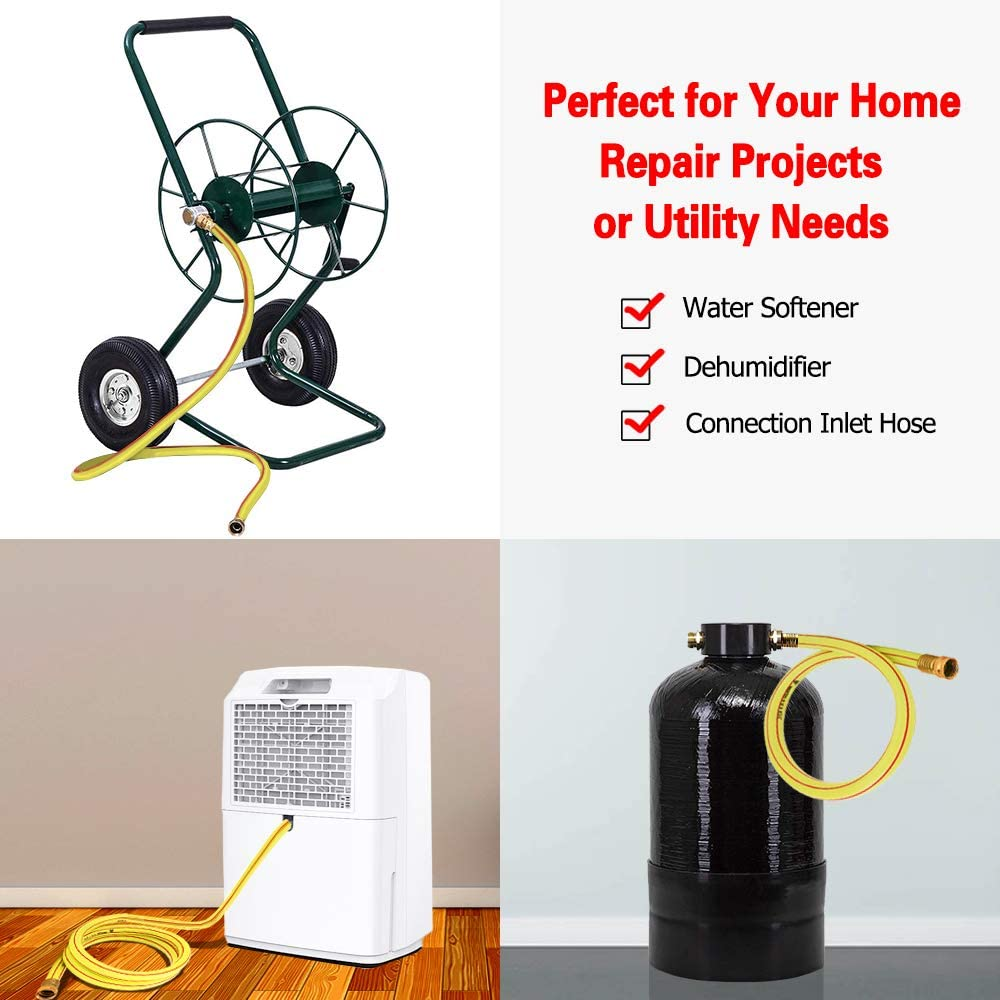 RV Filter and Camp Water Tank #G-H153A06 Dehumidifier Solution4Patio Homes Garden 4 ft Short Garden Hose 5//8 inch Yellow Lead-Hose Male//Female Commercial Brass Coupling Fittings for Water Softener