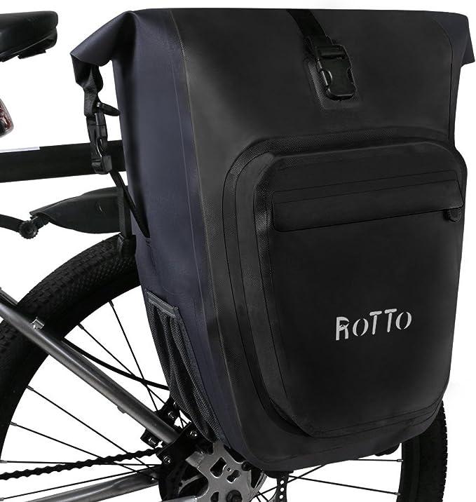ROTTO Alforjas Bicicleta Bolso Bici Trasero Fácil Lanzamiento Impermeable 27 litros (C-Negro-Par): Amazon.es: Deportes y aire libre