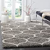 Safavieh Hudson Shag Collection SGH280B Grey and Ivory Moroccan Ogee Plush Square Area Rug (5' Square)