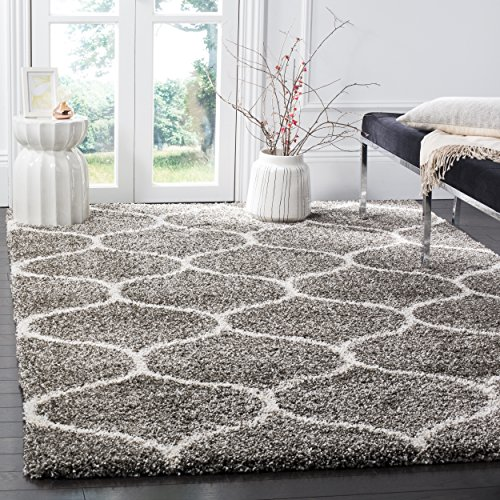 11 Modern Rug Collection - Safavieh Hudson Shag Collection SGH280B Grey and Ivory Moroccan Ogee Plush Area Rug (10' x 14')