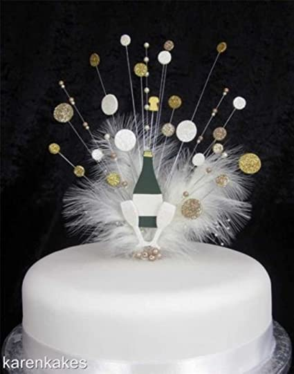 Fine Champagne Bottle Gold And Cream Birthday Cake Topper With Bubbles Funny Birthday Cards Online Hetedamsfinfo