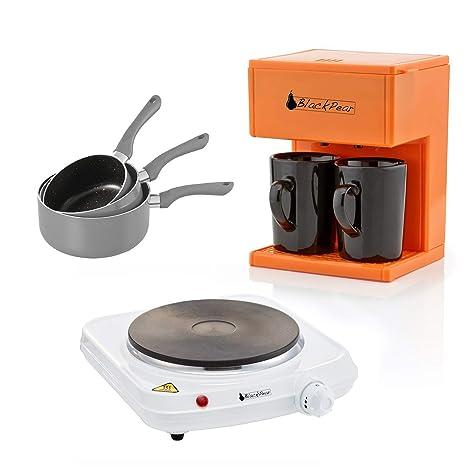 Placa de cocción 1 fuego + cafetera 2 tazas y 3 cacerolas grises ...