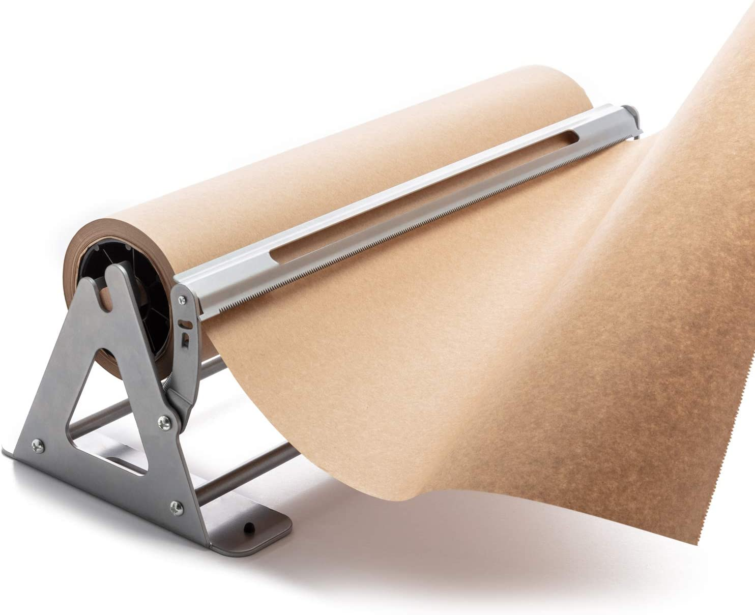 Paper Roll Cutter - Butcher Paper Dispenser - Heavy Duty 24 Inch Paper Roll Holder and Cutter - Sturdy Construction, Rubber Feet, Tabletop, Wall Mount, Serrated Edge - Butcher Paper Holder and Cutter