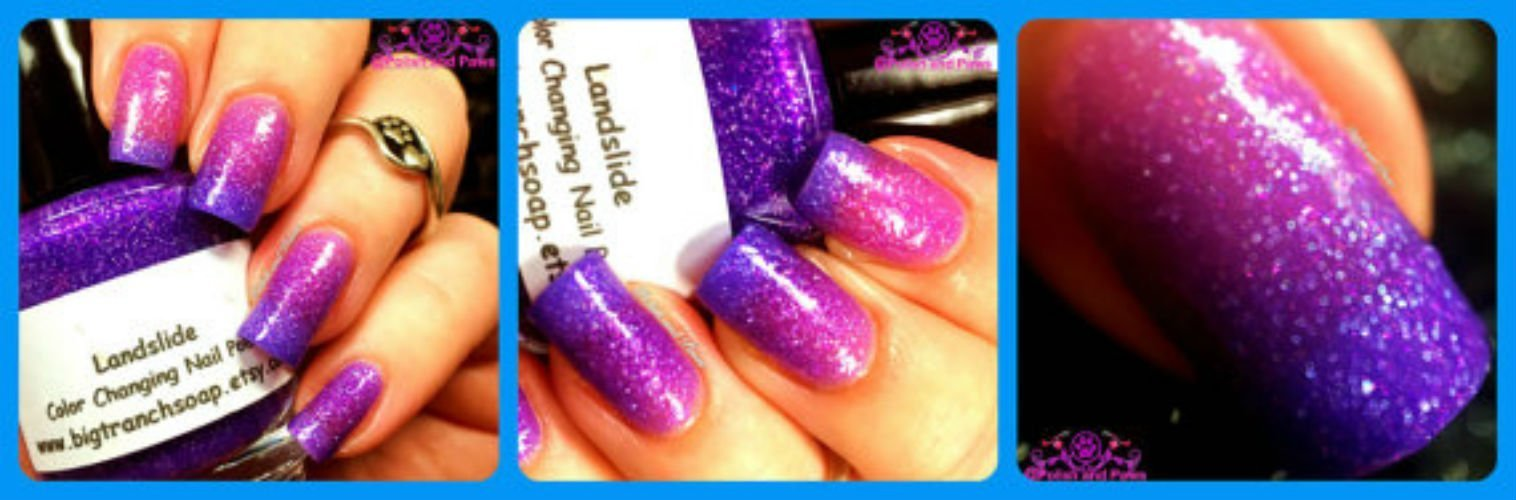 Ombre Color Changing Thermal Nail Polish - FREE SHIPPING - ''Landslide'' - Pink to Purple Glittery - Temperature Changing - 0.5 oz Full Sized Bottle