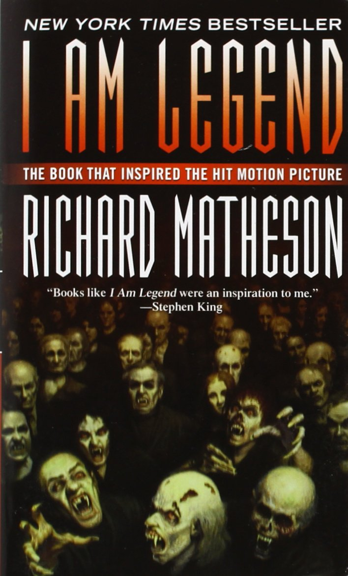 I Am Legend book cover by Richard Matheson featuring hoard of vampires