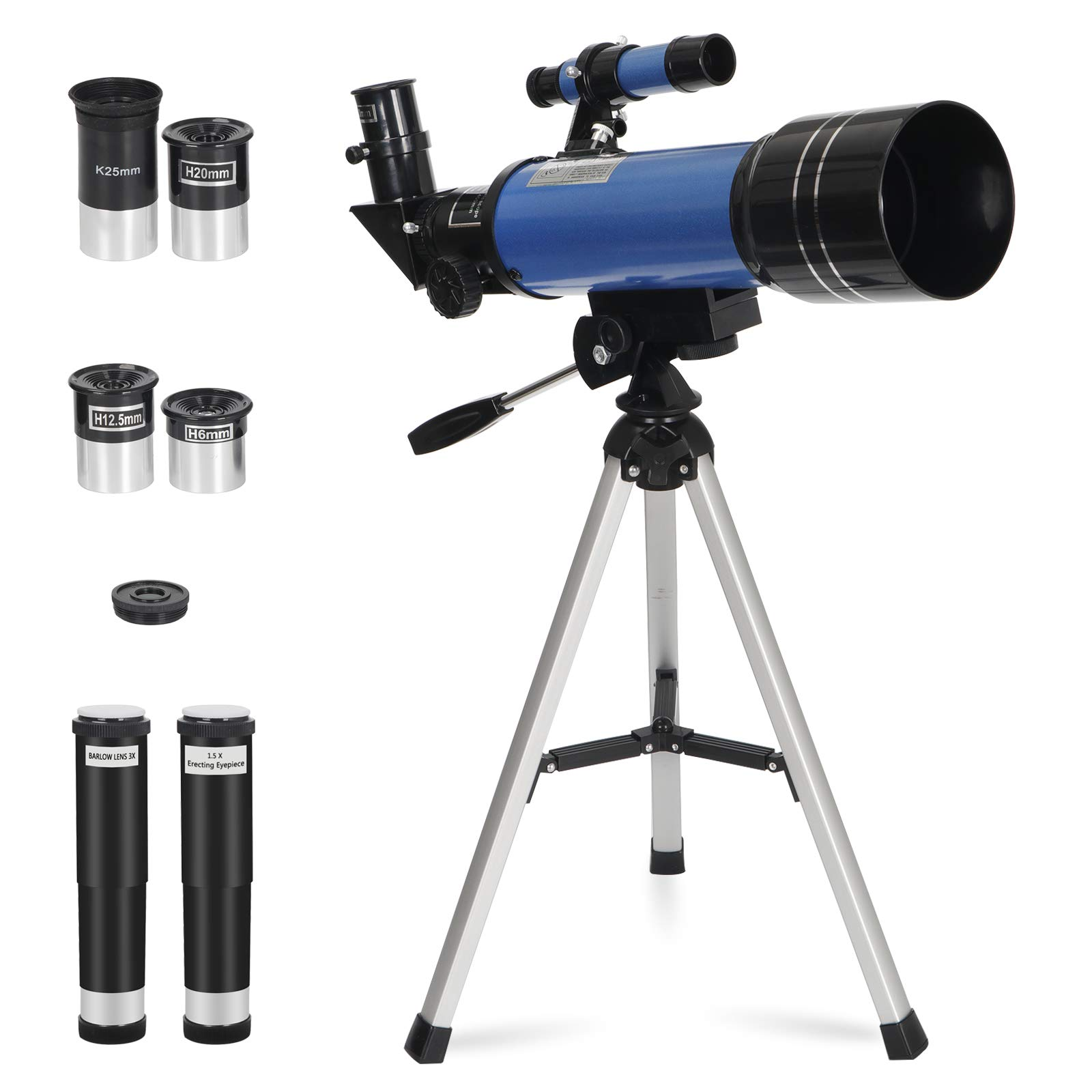 ZENY 70mm Refractor Telescope Portable Telescope for Kids & Astronomy Beginners with Tripod & Finder Scope, Magnification Travel Scope with 3 Magnification eyepieces & Moon Mirror