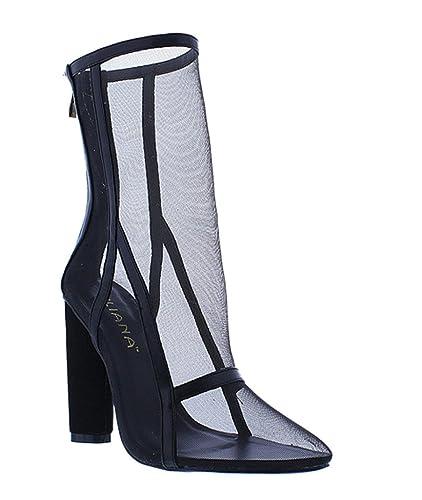 7115dd1fbea Liliana Mesh Pointy Close Toe Chunky Single Sole Heels Booties Tatum-2(Nude  8.5