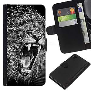 Sony Xperia Z2 D6502 D6503 D6543 L50t L50u , la tarjeta de Crédito Slots PU Funda de cuero Monedero caso cubierta de piel ( Roar Lion Portrait Art Drawing Black White)