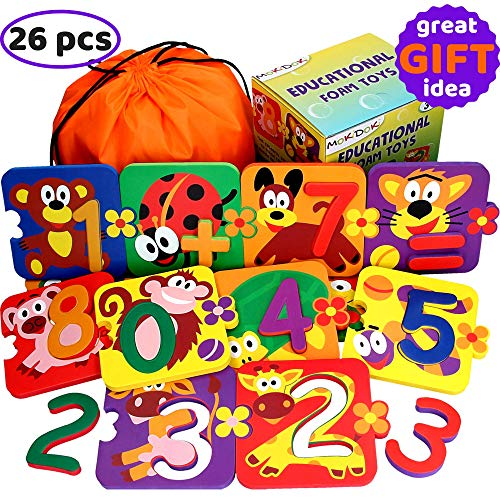 Foam Number Puzzles for Toddlers - Baby Learning Bath Toys for Kids - Best Preschool Educational Bathtub Animals Bathtime Early Game Boys Girls - Set 13 Puzzles 13 Numbers - Easy Fun Way to Teach Math